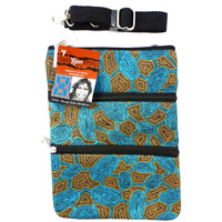 Yijan 3 Zip Canvas Shoulder Bag - Women Travelling Dreaming  [Turquoise]