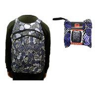 Jijaja Aboriginal Art Fold Up Backpack - Riverstones (Purple)