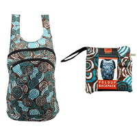 Jijaka Aboriginal Art Fold Up Backpack - Riverstones (Teal)