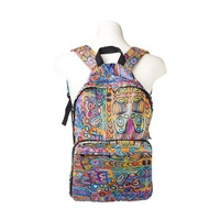 Warlukurlangu Aboriginal Art Fold Up Backpack - Mina Mina Dreaming (Blue)