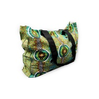 Bunabiri Aboriginal Canvas Bag - Green Feet