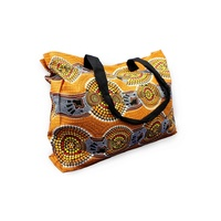 Bunabiri Aboriginal Canvas Bag - Ochre Hands