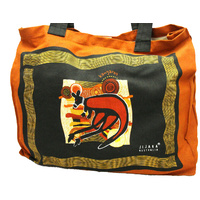 Jijaka Aboriginal Dot Art Canvas Bag - Kangaroo/Crocodile