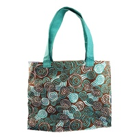 Jijaka Aboriginal Dot Art Canvas Bag - Riverstones (Turquoise)