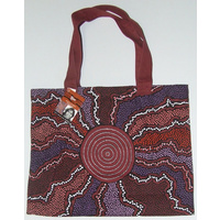 Yijan Aboriginal Art Canvas Bag - Fire and Water (Red)
