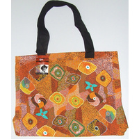 Yijan Aboriginal Dot Art Canvas Carry Bag - Swamp Turtle