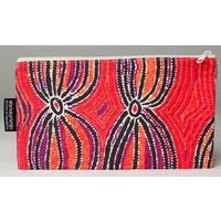 Warlukurlangu Aboriginal Art Cotton Zip Bag - Dogwood Tree Bean Dreaming
