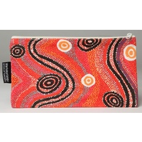 Warlukurlangu Aboriginal Art Cotton Zip Bag - Fire Dreaming