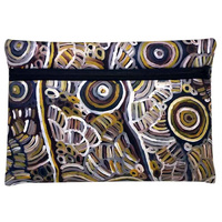 Utopia Aboriginal Art Zipped Neoprene Pencil Case - My Mother's Story (Grey)