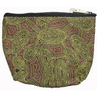 Yijan Aboriginal Art 1 Zip Cosmetic Purse - Women's Travel Dreaming [Green]