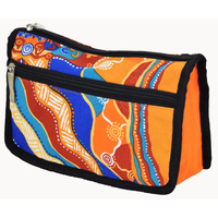 Jijaka Aboriginal Art 2 Zip Cosmetic/Toiletry Purse - Joy of Sound