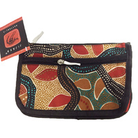 Jijaka Aboriginal Art 2 Zip Cosmetic/Toiletry Purse - Tea Tree