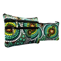 Bunabiri 3 Zip Cosmetic Purse - Green Hand