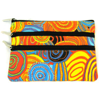 Jijaka Aboriginal Dot 3 Zip Cosmetic Purse - Firestones