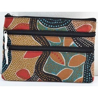 Jijaka Aboriginal Dot Art 3 Zip Cosmetic Purse - TeaTree