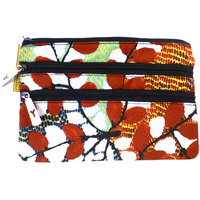 Yijan Aboriginal Art 3 Zip Canvas Cosmetic Purse - Bush Cucumber