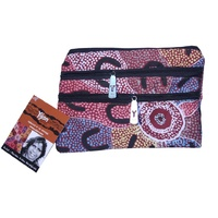Yijan Aboriginal 3 Zip Cosmetic Purse - Crow Women Dreaming (Pink)
