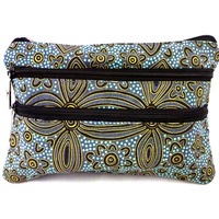 Yijan Aboriginal Art 3 Zip Cosmetic Purse - Women's Ceremony Yuendamu (Blue)