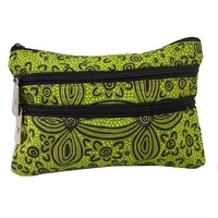 Yijan Aboriginal Art 3 Zip Cosmetic Canvas Purse - Women's Ceremony Yuendamu (Green)