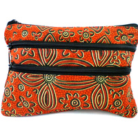 Yijan Aboriginal Art 3 Zip Canvas Cosmetic Purse - Women's Ceremony Yuendamu (Red)