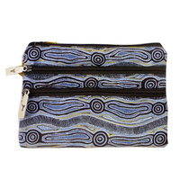 Yijan Aboriginal Art 3 Zip Cosmetic Purse - Water Dreaming (Blue)