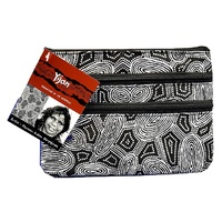 Yijan Aboriginal Art 3 Zip Cosmetic Purse - Women Travel Dreaming (Black & White)