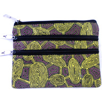 Yijan Aboriginal Art 3 Zip Cosmetic Purse - Women Travel Dreaming (Gold)