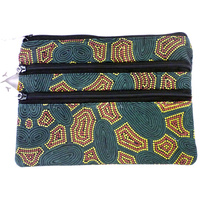 Yijan Aboriginal Art 3 Zip Cosmetic Purse - Women Travel Dreaming (Slate)