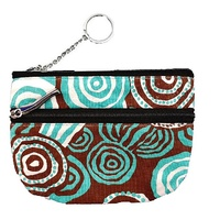 Jijaka Aboriginal Art 2 Zip Coin Purse - Riverstones (Turquoise)