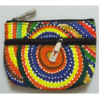 Yijan Aboriginal Art 2 Zip Keychain Coin Purse - Two Boys Country