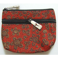 Yijan Aboriginal Art 2 Zip Keychain Coin Purse - Women's Ceremony at Yuelamu (Red)
