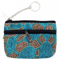 Yijan Aboriginal Art 2 Zip Keychain Coin Purse - Women Travel Dreaming (Turquoise)