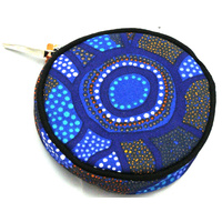 Jijaka Round Canvas Coin Purse - Blue Dots