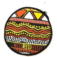 Jijaka Round Canvas Coin Purse - Graphics