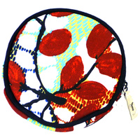 Yijan Aboriginal Art Round Canvas Coin Purse - Bush Cucumber