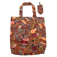 Jijaka Aboriginal Art Folding Bag - Riverstones Orange