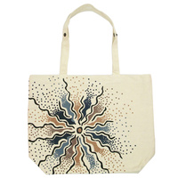 Outstations Folding Calico Bag - Bush Roots (Blue)
