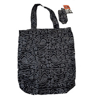 Yijan Aboriginal Art Folding Nylon Shopping Bag - Women's Ceremonial Place (Black)