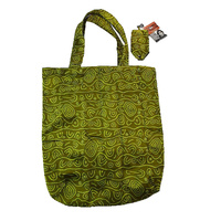 Yijan Aboriginal Art Folding Nylon Shopping Bag - Women's Ceremonial Place (Green)