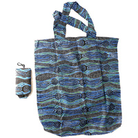 Yijan Aboriginal Art Folding Nylon Shopping Bag - Water Dreaming (Blue)