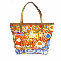 Leather Trimmed Cotton Canvas Tote/Handbag - Two Dogs Dreaming
