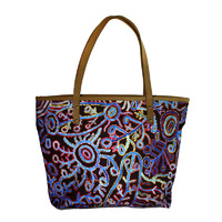 Leather Trimmed Cotton Canvas Tote/Handbag - Waterhole Dreaming