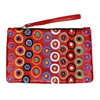 Aboriginal Art Embroidered Women's Leather Clutch Bag - Walka