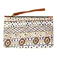 Aboriginal Art Embroidered Women's Leather Clutch Bag - Ceremony on Tiwi