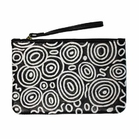 Aboriginal Art Embroidered Women's Leather Clutch Bag - Seven Sisters