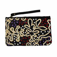 Aboriginal Art Embroidered Women's Leather Clutch Bag - Yam & Bush Tomato Dreaming