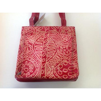 Keringke Aboriginal Art Embossed Leather (Busy) Handbag - Red