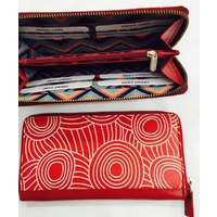 Iwantja Aboriginal Art design Ladies Leather Zip Wallet - Red