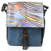 Warlu Leather/Canvas Satchel Bag - Dogwood Tree Dreaming