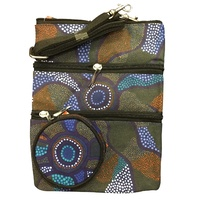 Jijaka 3 Zip Bag + Coin Purse Set - Blue Dot